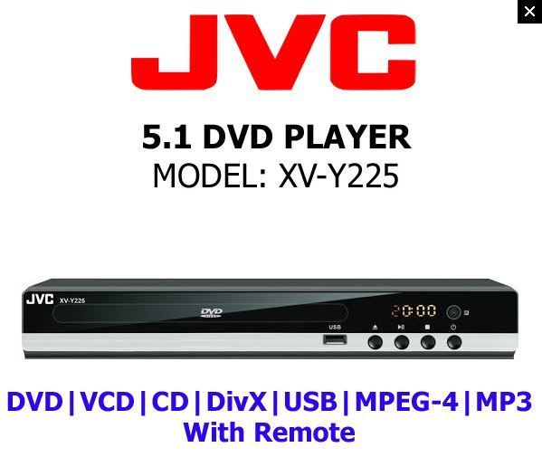 JVC All Region Code Free DVD Player! 5.1 Channel - Plays PAL NTSC Disc Worldwide