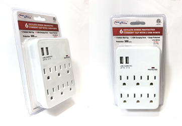 Seven Star SS-503 6 Outlets Current Tap with 2 USB Ports Surge Protected 110 Volt Seven Star SS-503, 6 Outlets, 2 USB Ports, Surge Protected Current Tap, sevenstar ss503, AC outlet, power outlet usb, multi wall plug