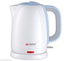 Alpina 220V Electric Cordless Kettle 220 Volts Foreign Power Cord for Europe