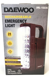 Daewoo 24 LED Dual Voltage 110-220V Rechargeable Flash Light Lantern WORLDWIDE USE Daewoo DRL-1023, Daewoo DRL1023, Daewoo LANTERN, Daewoo FLASHLIGHT, EMERGENCY LANTERN, EMERGENCY FLASHLIGHT, 220-240 VOLT LANTERN, 220V FLASHLIGHT, 220 VOLT EMERGENCY LIGHT