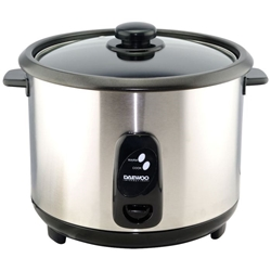 Daewoo 220 Volt Rice Cooker 1.8L Stainless Steel Body Non Stick Bowl Glass Lid