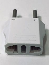 MU-5 American to Europe Asia 4mm Plug Adapter White MU5,plug adapter,adapter plug,adaptor,two round prong plug,adapters,round pin,europe,asia,4MM,4 mm,africa,india,uk,universal adapters,220 plug,220v adapter,220 volt adapter,220 adaptor