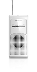 Philips AE1500 Portable Pocket Size AM/FM Battery Operated White Radio