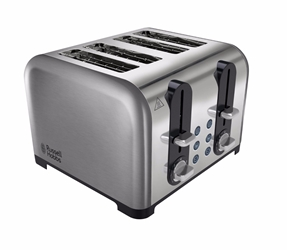 Russell Hobbs 220V 4 Slice Wide Slot Toaster - 220 Volt European Power Cord