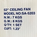 "Sakura 52"" 220 Volt  Polished Brass Ceiling Fan with Four Lights - SA52PB"