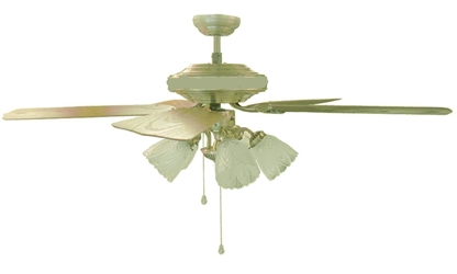 "Sakura 52"" 220 Volt  Polished Brass Ceiling Fan with Four Lights SAKURA SA52PB, SA52PB, 220-240V, 220-240 VOLT, FAN FOR EXPORT, FAN FOR OVERSEAS, FAN FOR DESK FAN, EXPORT, INTERNATIONAL FAN"