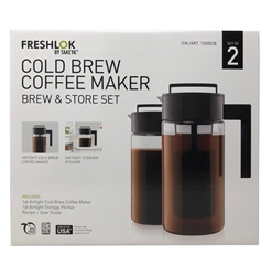 Takeya Cold Brew Coffee Maker & Storage Pitcher Set 1 Quart Size 2-PACK