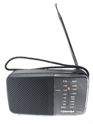 Toshiba TX-PR20 AM/FM Pocket Portable Battery Operated Black Radio