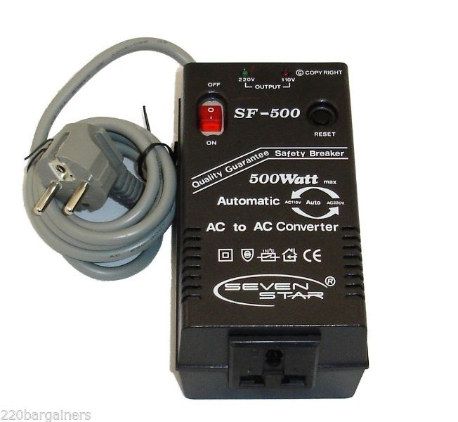 Seven Star - 500 Watt Voltage Converter + USA Plug Adapter Up Down ...