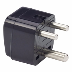 NEW India 3-Round Pin Plug Adapter with Universal Output Socket - BLACK