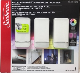 Sunbeam Color Changing Led Power Failure Night Light 3 Pk With USB Port